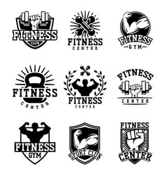 Monochrome fitness emblem design element gym sport vector