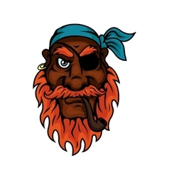 Old pirate with eye patch smoking pipe vector