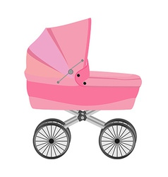 Pink baby pram vector image vector image