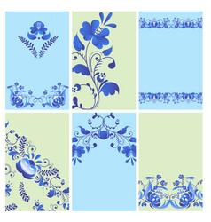 Russian ornaments art gzhel style painted brochure vector