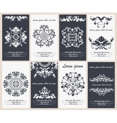 Set flyers templates with floral ornament mandala vector image