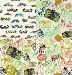 Set of 4 seamless pattern with a mustache camera vector