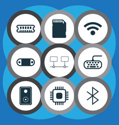 Set of 9 computer hardware icons includes memory vector
