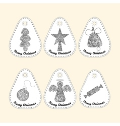 Set of icon with line ornament Christmas vector image vector image