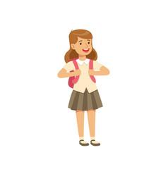 smiling girl character in school uniform standing vector image vector image