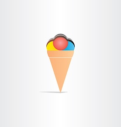 sweet fruit ice cream with chocolate icon vector image