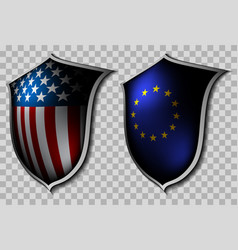 Two shields with flags vector