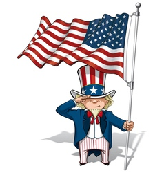 Uncle Sam Saluting the US Flag vector image