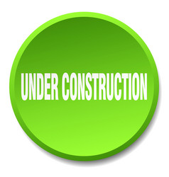 Under construction green round flat isolated push vector