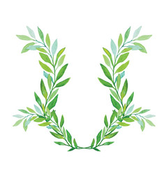 Watercolor laurel wreath isolated on white vector