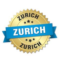 Zurich round golden badge with blue ribbon vector
