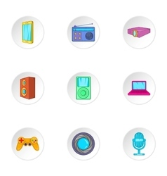 Electronic equipment icons set cartoon style vector