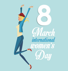 8 march womens day international girl funny vector image