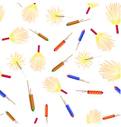 Seamless pattern with rockets sparklers fireworks vector