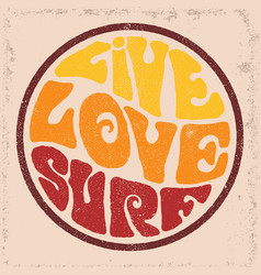 round badgelive love surf vector image