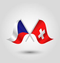 Two crossed czech and swiss flags on stick vector