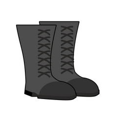 Military boots black isolated army shoes on white vector