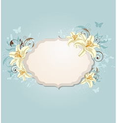 Vintage background with label and flowers vector