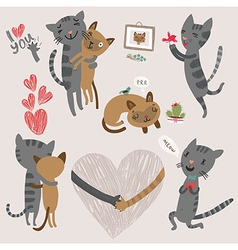 enamored cats vector image