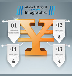 3d infographic yen money icon vector