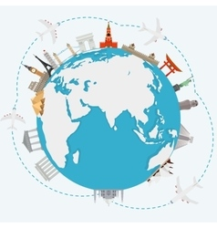 The concept of traveling around the world vector