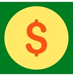 Dollar flat orange and yellow colors round button vector