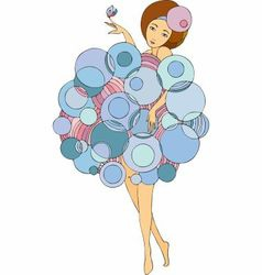 Girl in a dress made of bubbles vector
