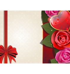 Valentines Day retro card with heart and roses vector image
