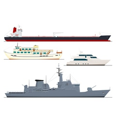 Four isolated ships vector