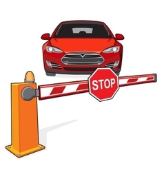 Barrier stop sign car vector