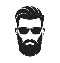 Bearded men face hipster character vector