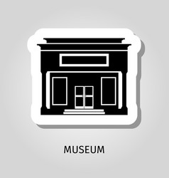 Black museum building web sticker vector