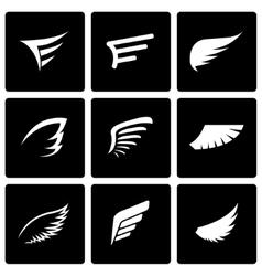 black wing icon set vector image vector image