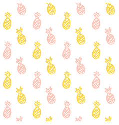 Brush pineapple seamless pattern vector