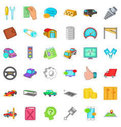 Car repair icons set cartoon style vector