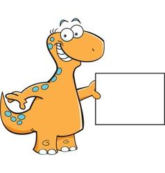 Cartoon brontosaurus holding a sign vector image vector image