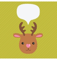 Christmas deer with speech bubble vector image
