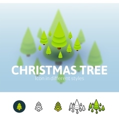 Christmas tree icon in different style vector image vector image