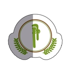 Color sticker circle with pipe wrench and olive vector