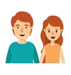 Colorful caricature half body couple woman with vector