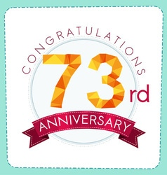 Colorful polygonal anniversary logo 3 073 vector