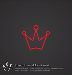Crown outline symbol red on dark background logo vector
