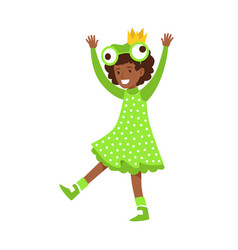 cute little girl dressed as a frog colorful vector image vector image
