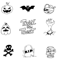 Element doodle halloween black white vector