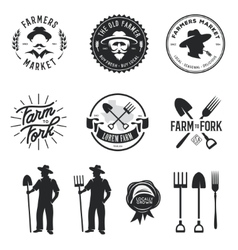 Farmers market set of labels badges emblems vector image