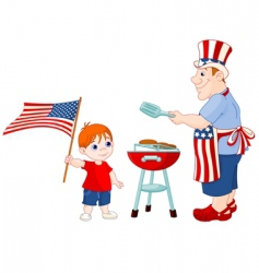 father and son 4 July vector image