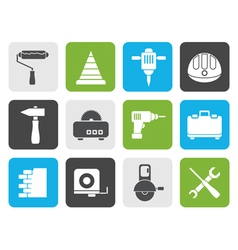 Flat building and construction tools icons vector