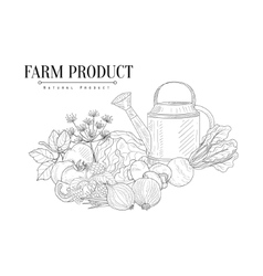Fresh farm food and watering can hand drawn vector