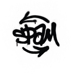 Graffiti tag spam sprayed with leak in black vector