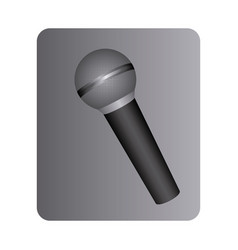 Gray square button with dynamic microphone vector
